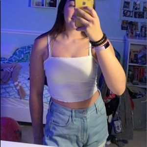 white cropped tank top